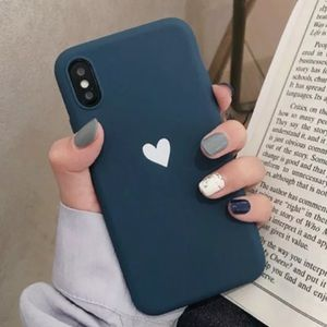 Blue iPhone Case with White Heart